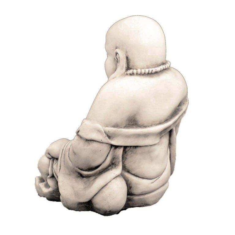 BUDDHIST MONK SITTING 43CM ANTIQUE STONE EFFECT BACK LEFT