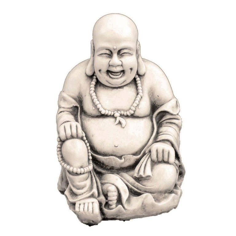 BUDDHIST MONK SITTING 43CM ANTIQUE STONE EFFECT FRONT
