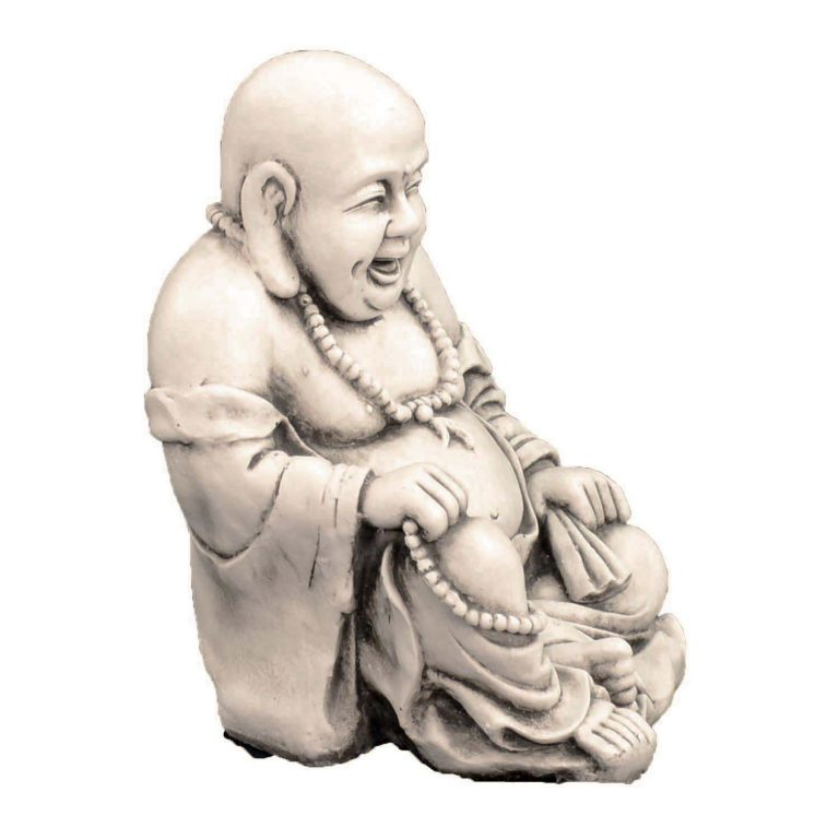 BUDDHIST MONK SITTING 43CM ANTIQUE STONE EFFECT FRONT RIGHT