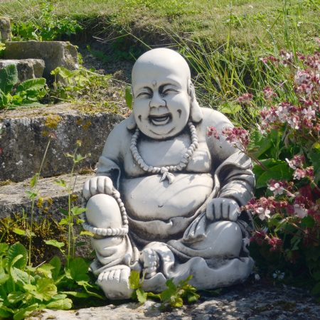 BUDDHIST MONK SITTING 43CM ANTIQUE STONE EFFECT OUTDOOR