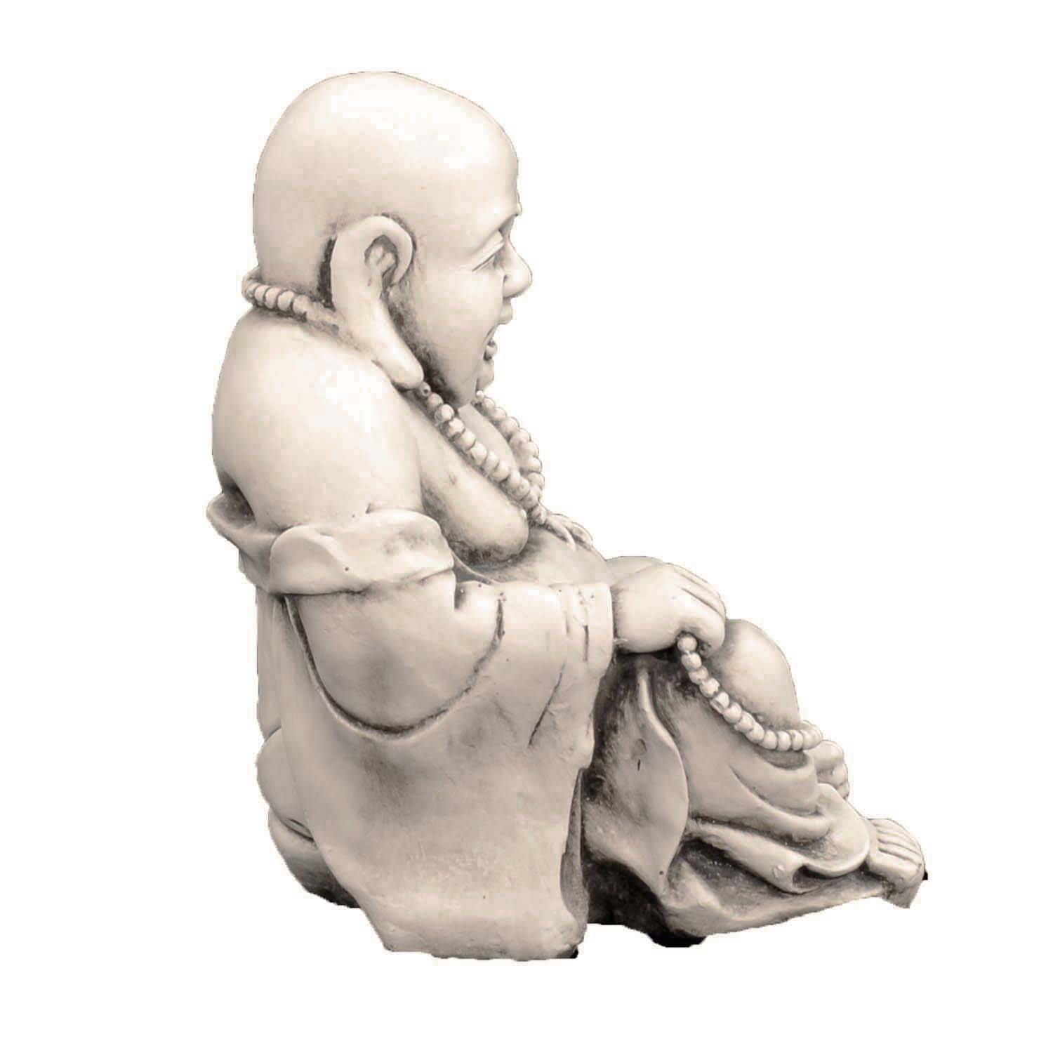 BUDDHIST MONK SITTING 43CM ANTIQUE STONE EFFECT RIGHT