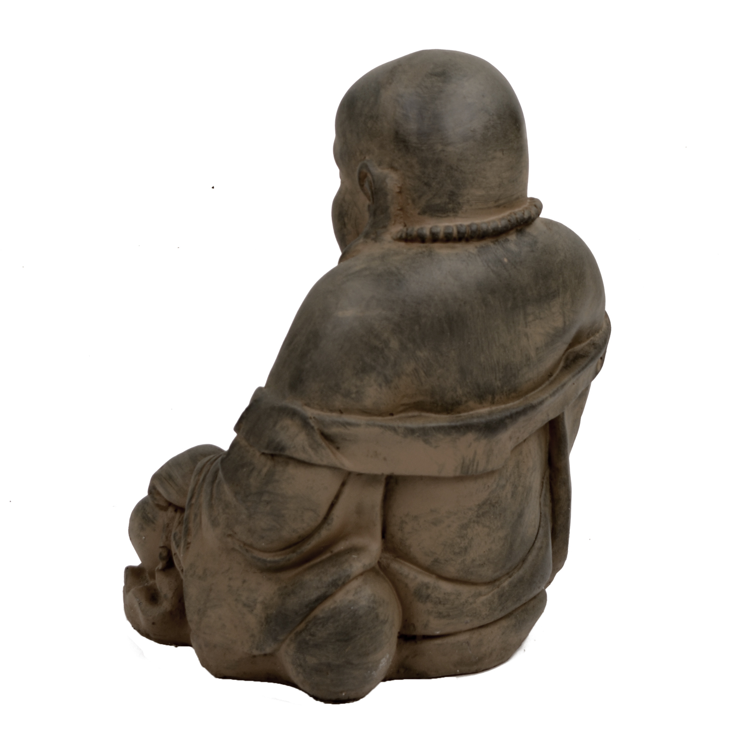 BUDDHIST MONK SITTING 43CM RUST EFFECT BACK LEFT
