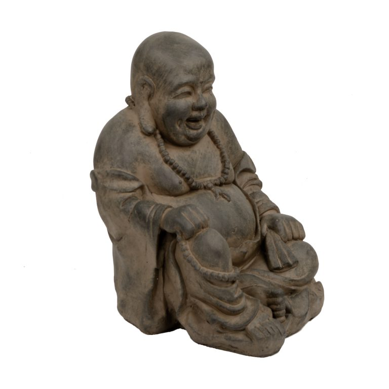BUDDHIST MONK SITTING 43CM RUST EFFECT FRONT RIGHT