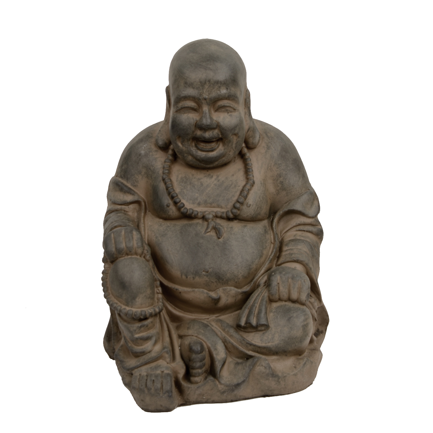 BUDDHIST MONK SITTING 43CM RUST EFFECT FRONT