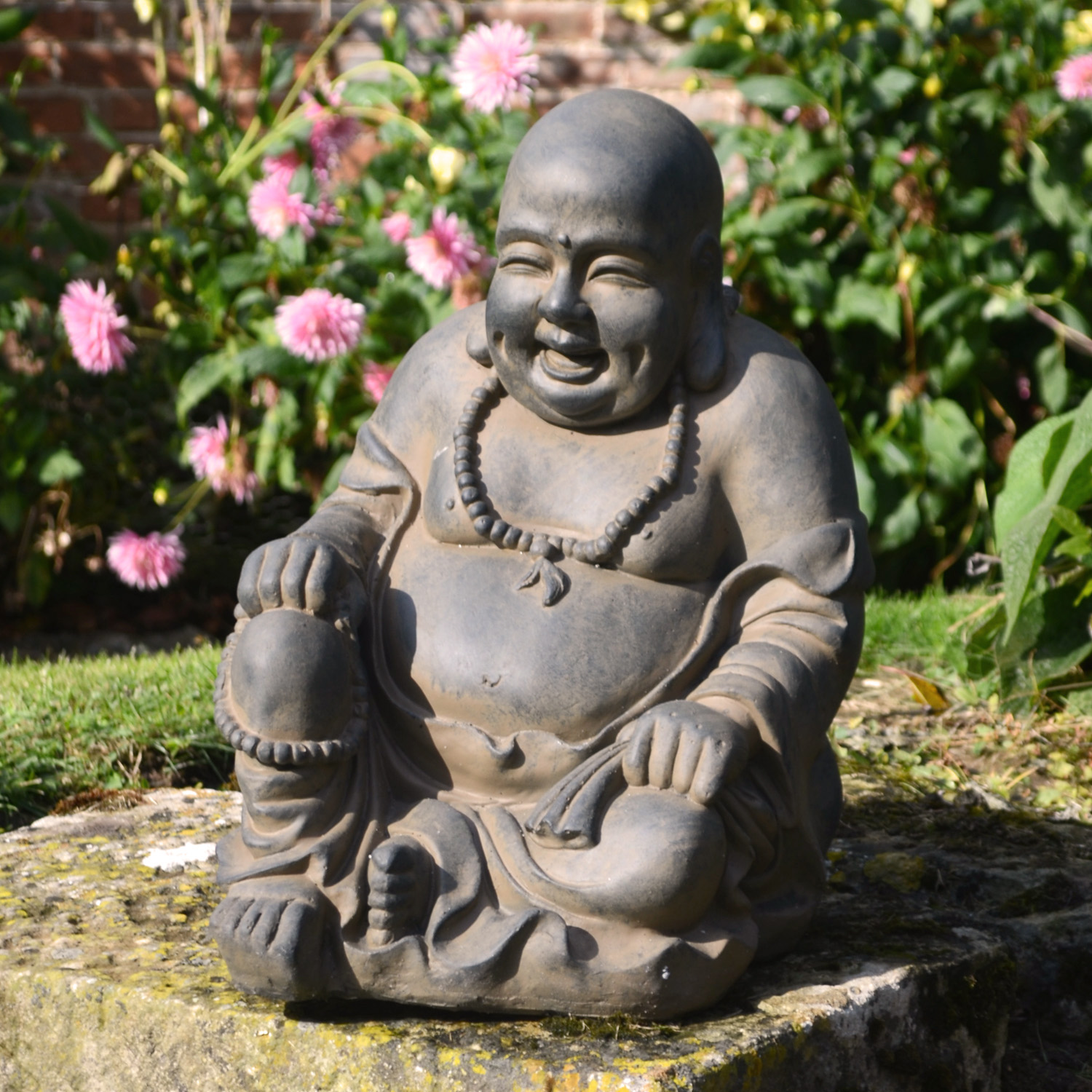 BUDDHIST MONK SITTING 43CM RUST EFFECT OUTDOOR