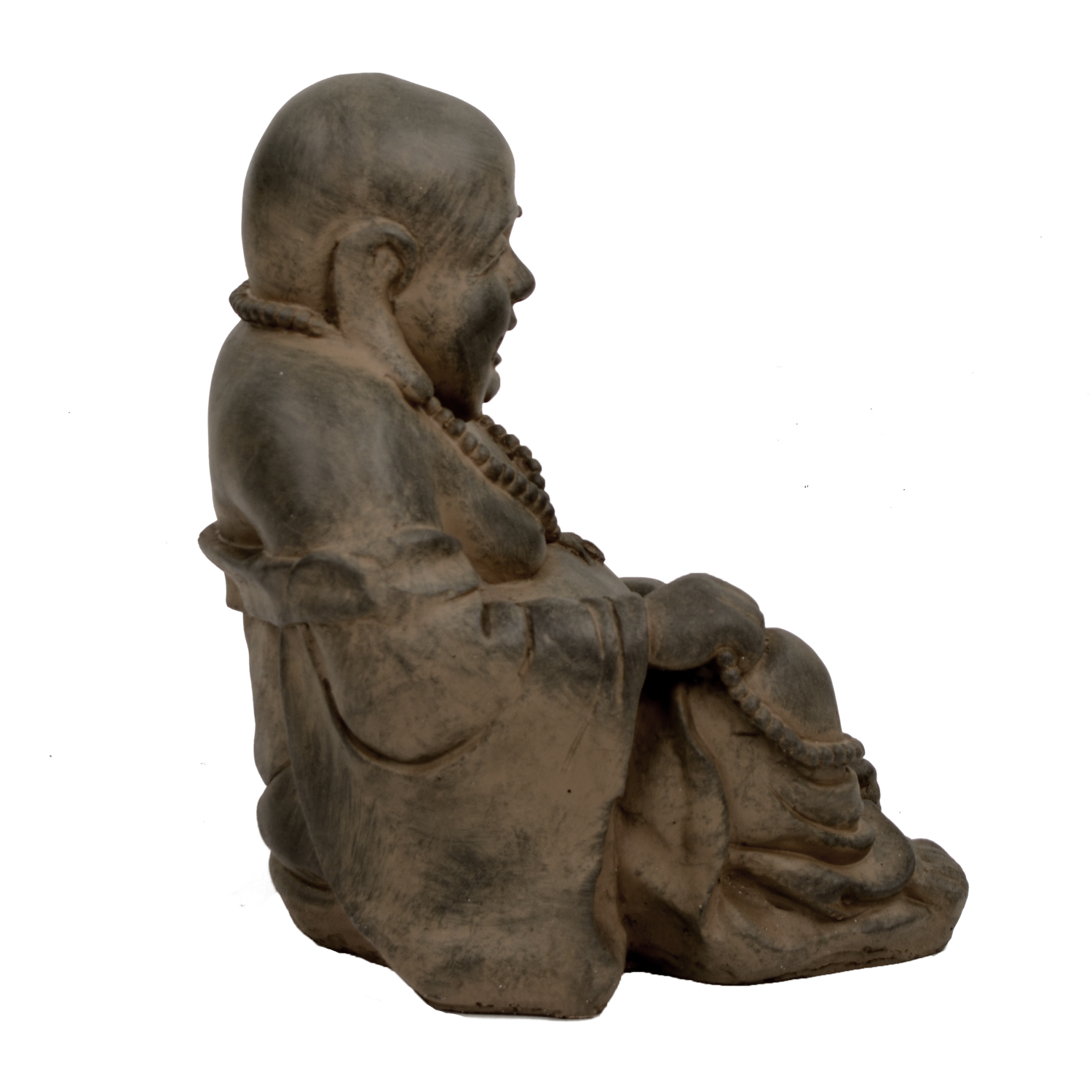 BUDDHIST MONK SITTING 43CM RUST EFFECT RIGHT
