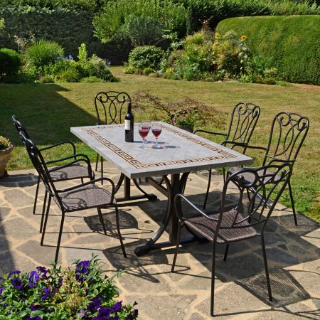 BURLINGTON DINING TABLE WITH 6 VERONA CHAIR SET OUTDOOR