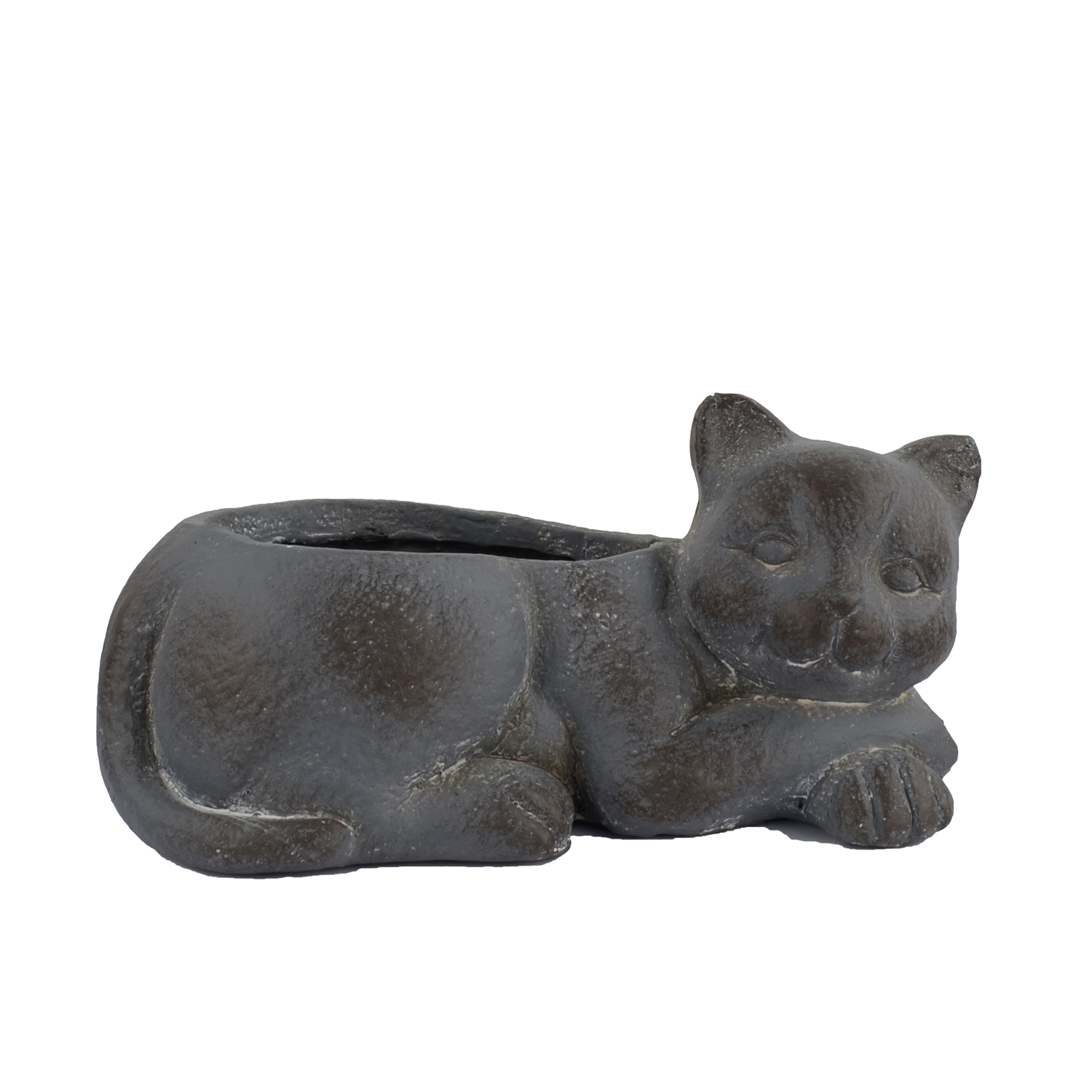 CAT PLANTER 15CM BLUE IRON EFFECT RIGHT