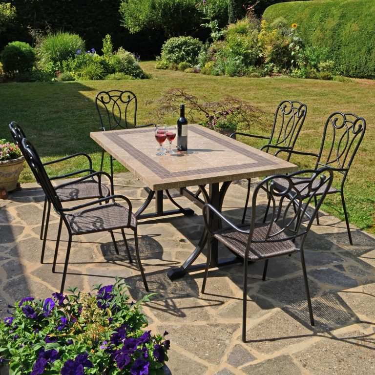 CHARLESTON DINING TABLE WITH 6 VERONA CHAIR SET OUTDOOR