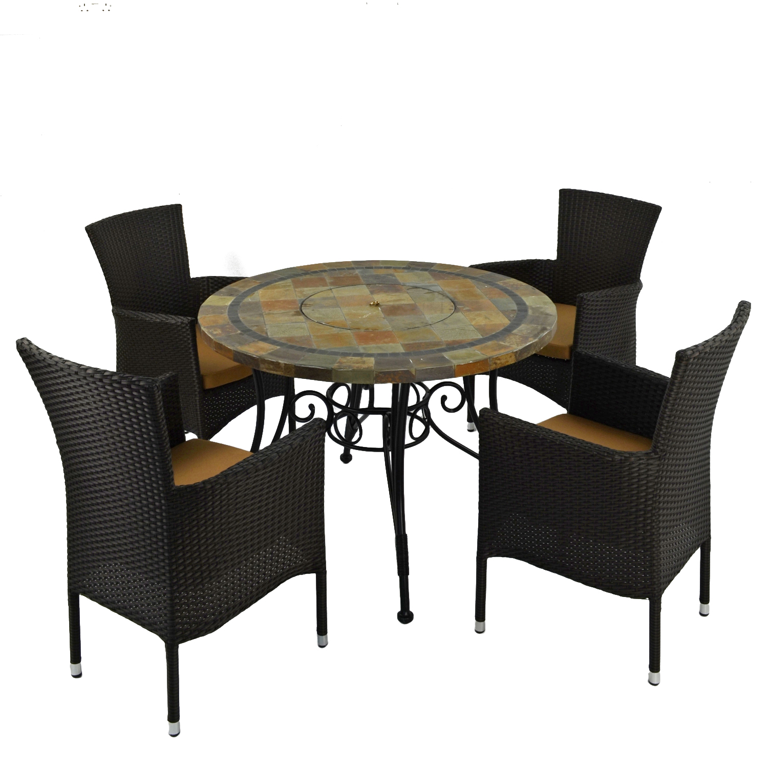 COLORADO FIRE PIT TABLE WITH 4 STOCKHOLM BLACK CHAIR SET 2