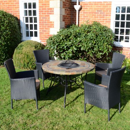 COLORADO FIRE PIT TABLE WITH 4 STOCKHOLM BLACK CHAIR SET OUTDOOR
