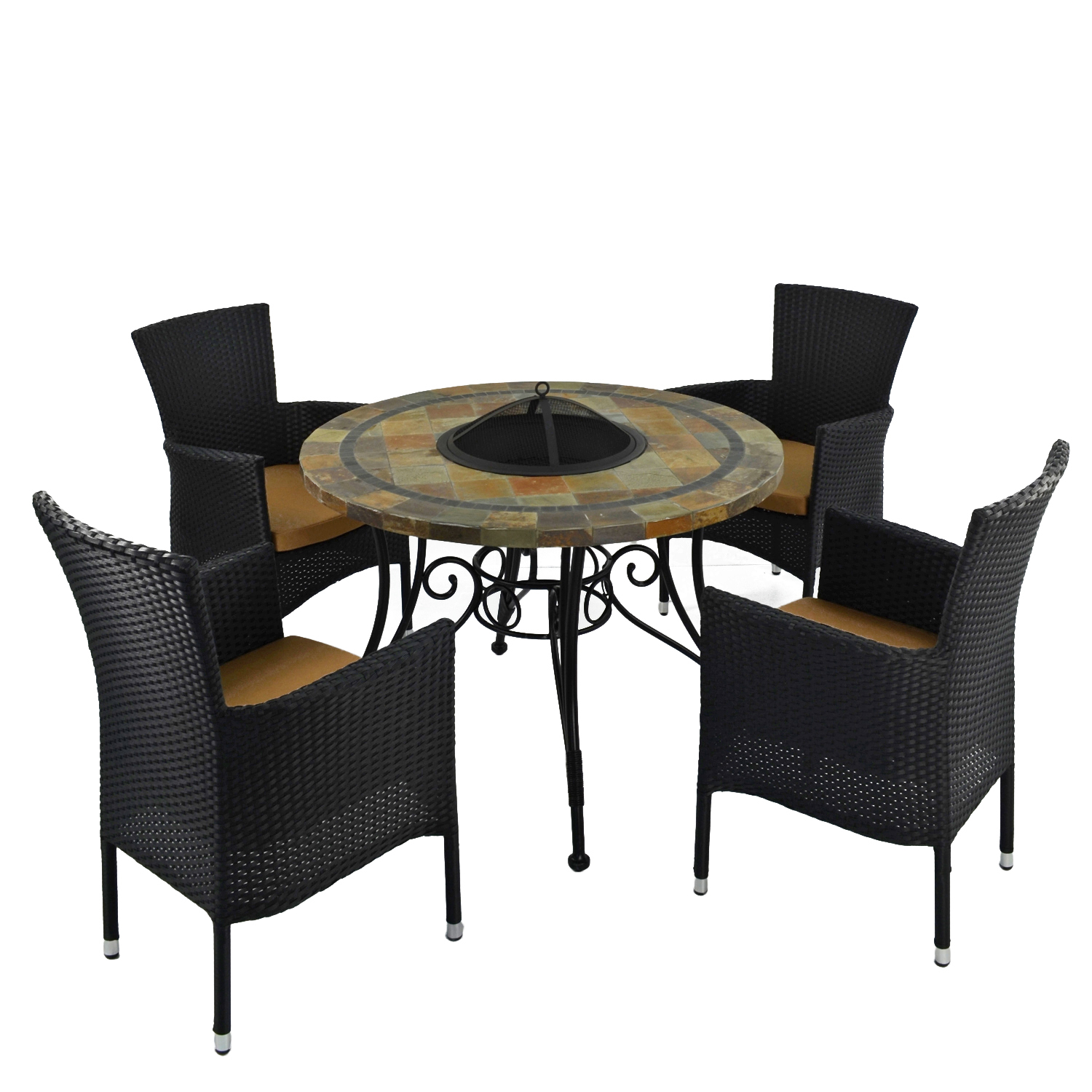 COLORADO FIRE PIT TABLE WITH 4 STOCKHOLM BLACK CHAIR SET