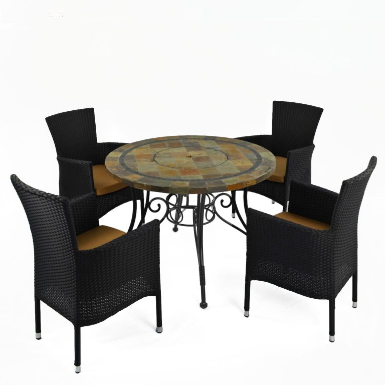 COLORADO FIRE PIT TABLE WITH 4 STOCKHOLM BROWN CHAIR SET 2
