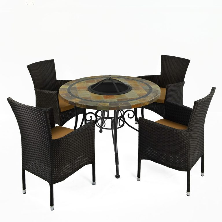 COLORADO FIRE PIT TABLE WITH 4 STOCKHOLM BROWN CHAIR SET