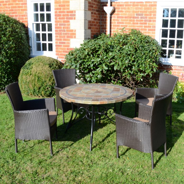 COLORADO FIRE PIT TABLE WITH 4 STOCKHOLM BROWN CHAIR SET OUTDOOR 2