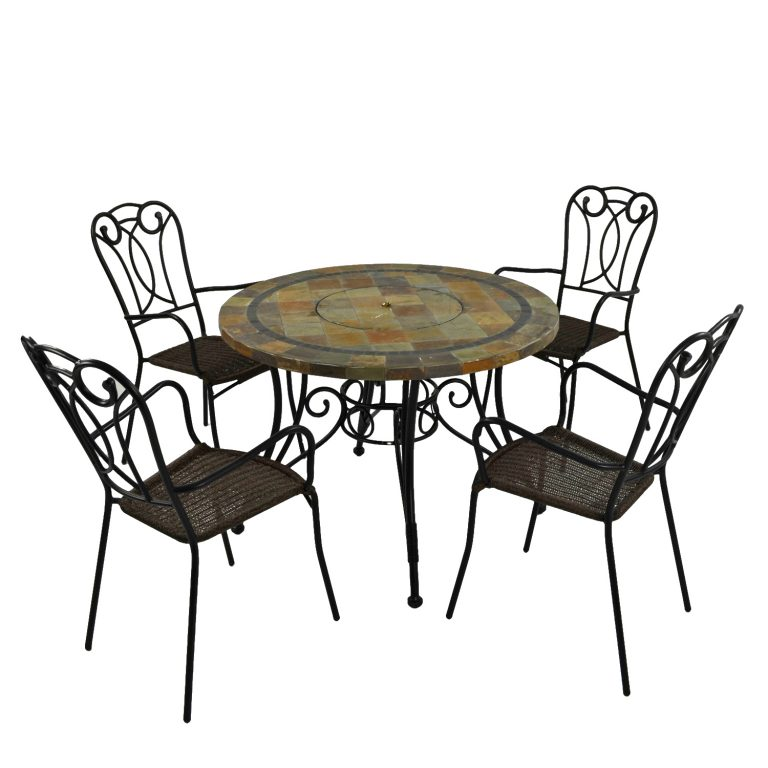 COLORADO FIRE PIT TABLE WITH 4 VERONA CHAIR SET 2