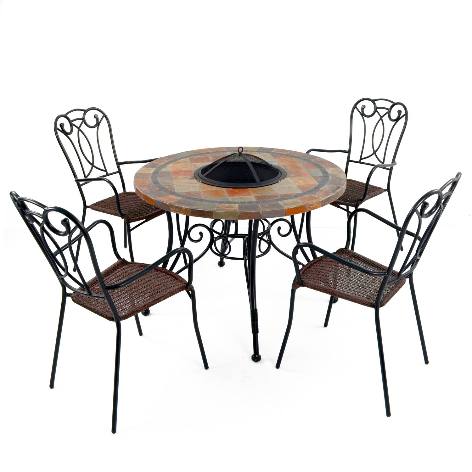 COLORADO FIRE PIT TABLE WITH 4 VERONA CHAIR SET