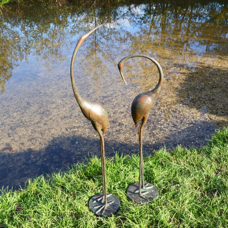 CONTEMPORARY CRANES PAIR 9580CM ALUMINIUM DARK VERDIGRIS OUTDOOR