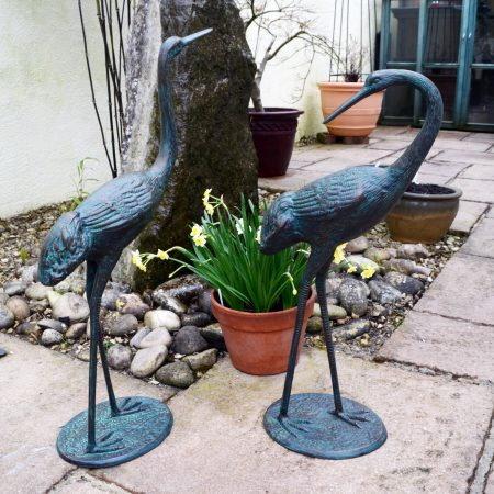 CRANES PAIR MEDIUM 7163CM ALUMINIUM DARK VERDIGRIS OUTDOOR2
