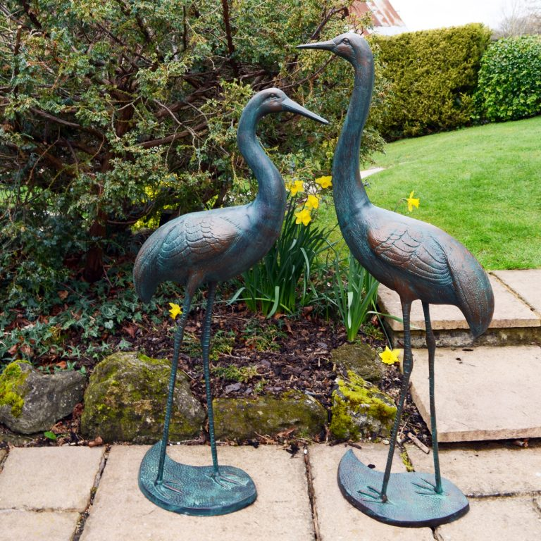 CRANES PAIR TALL 123109CM ALUMINIUM DARK VERDIGRIS OUTDOOR2