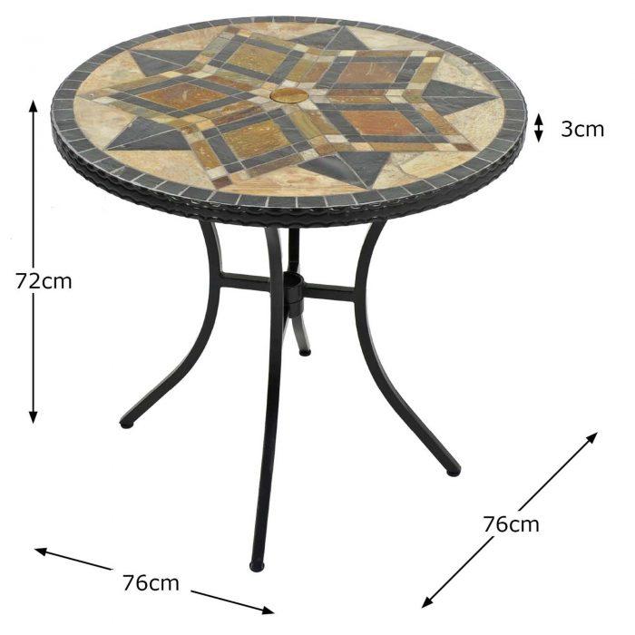 DARWIN 76CM BISTRO TABLE DIMENSION MS1 1