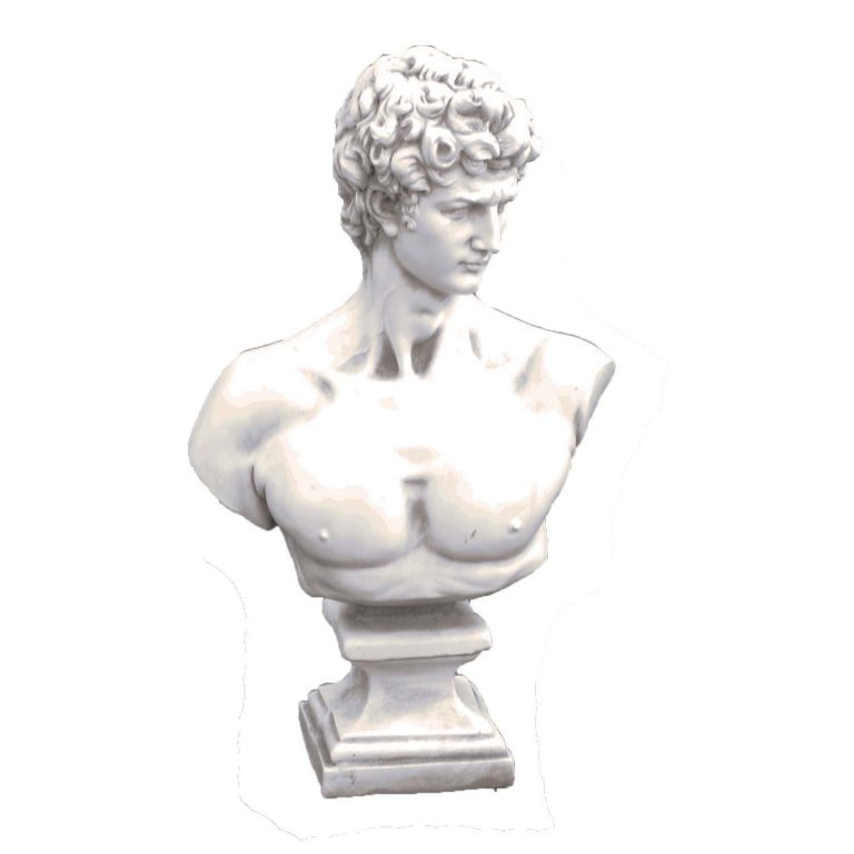 DAVID BUST 59CM WHITE STONE EFFECT FRONT