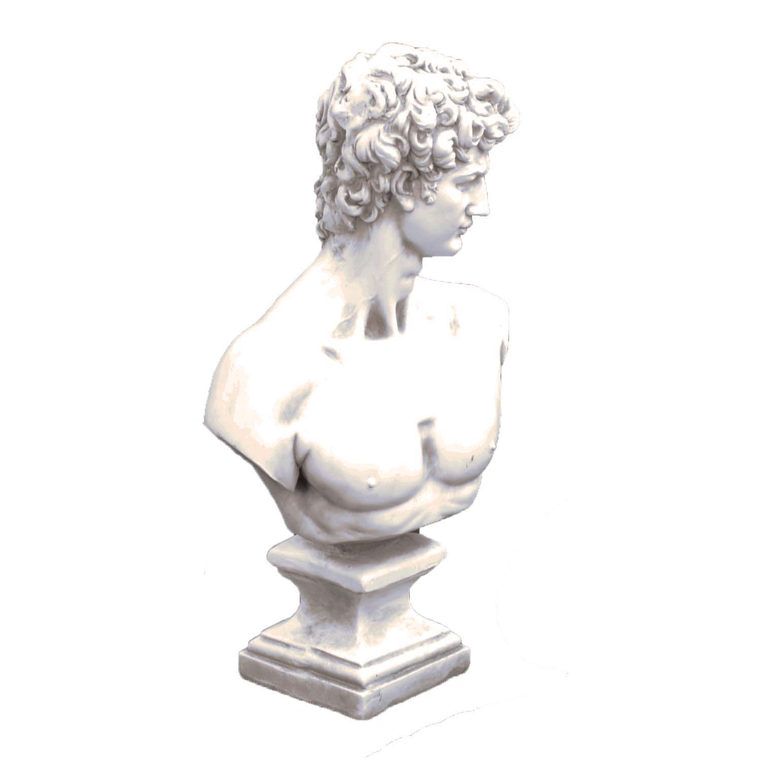 DAVID BUST 59CM WHITE STONE EFFECT FRONT RIGHT
