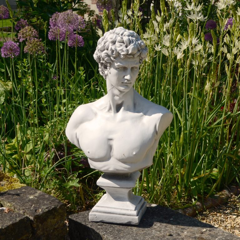 DAVID BUST 59CM WHITE STONE EFFECT OUTDOOR