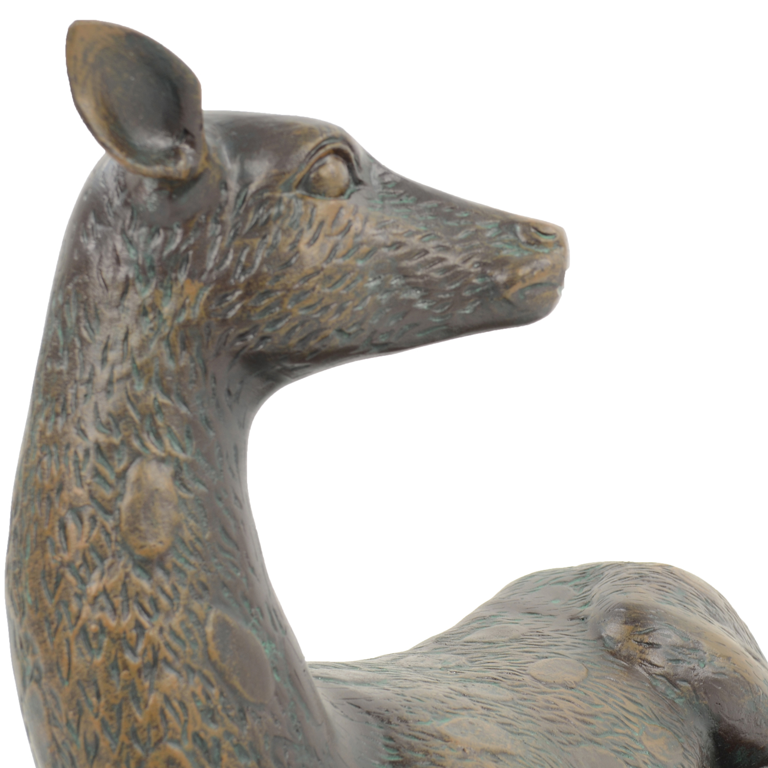 DEER LYING LARGE 36CM ALUMINIUM DARK VERDIGRIS DETAIL