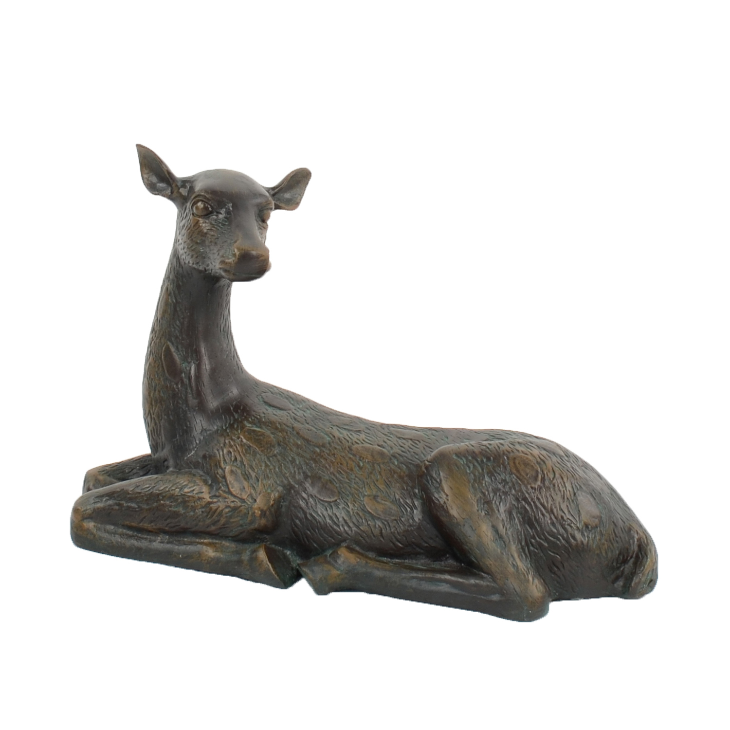 DEER LYING LARGE 36CM ALUMINIUM DARK VERDIGRIS FRONT RIGHT
