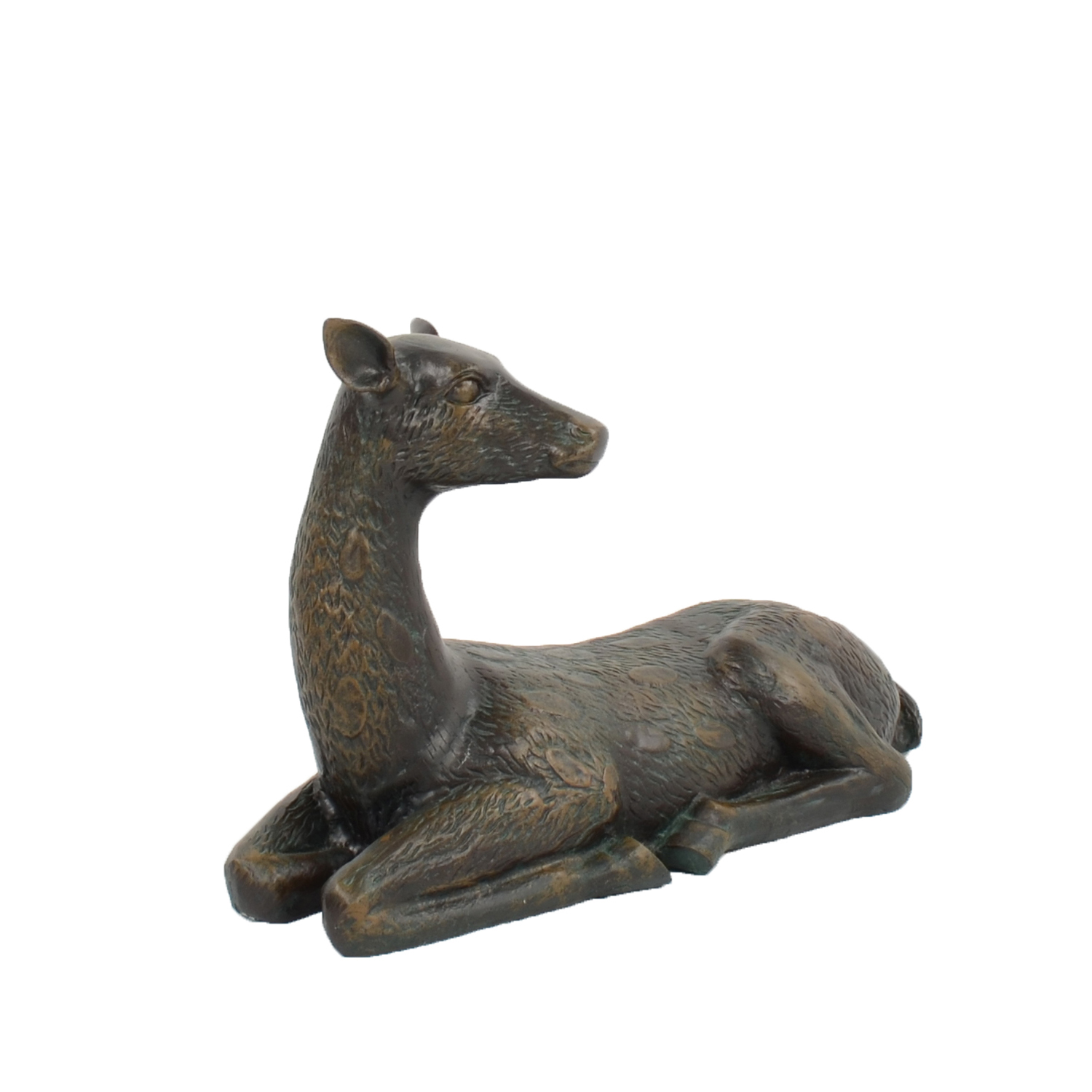 DEER LYING LARGE 36CM ALUMINIUM DARK VERDIGRIS RIGHT