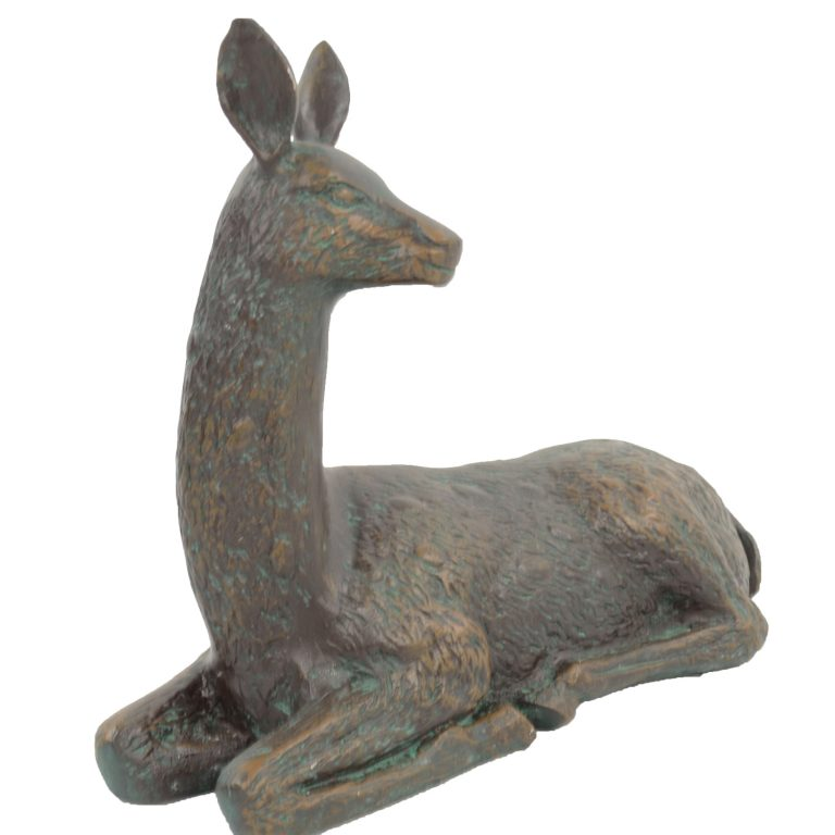 DEER LYING SMALL 30CM ALUMINIUM DARK VERDIGRIS DETAIL