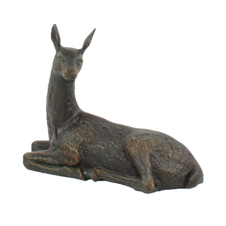 DEER LYING SMALL 30CM ALUMINIUM DARK VERDIGRIS FRONT