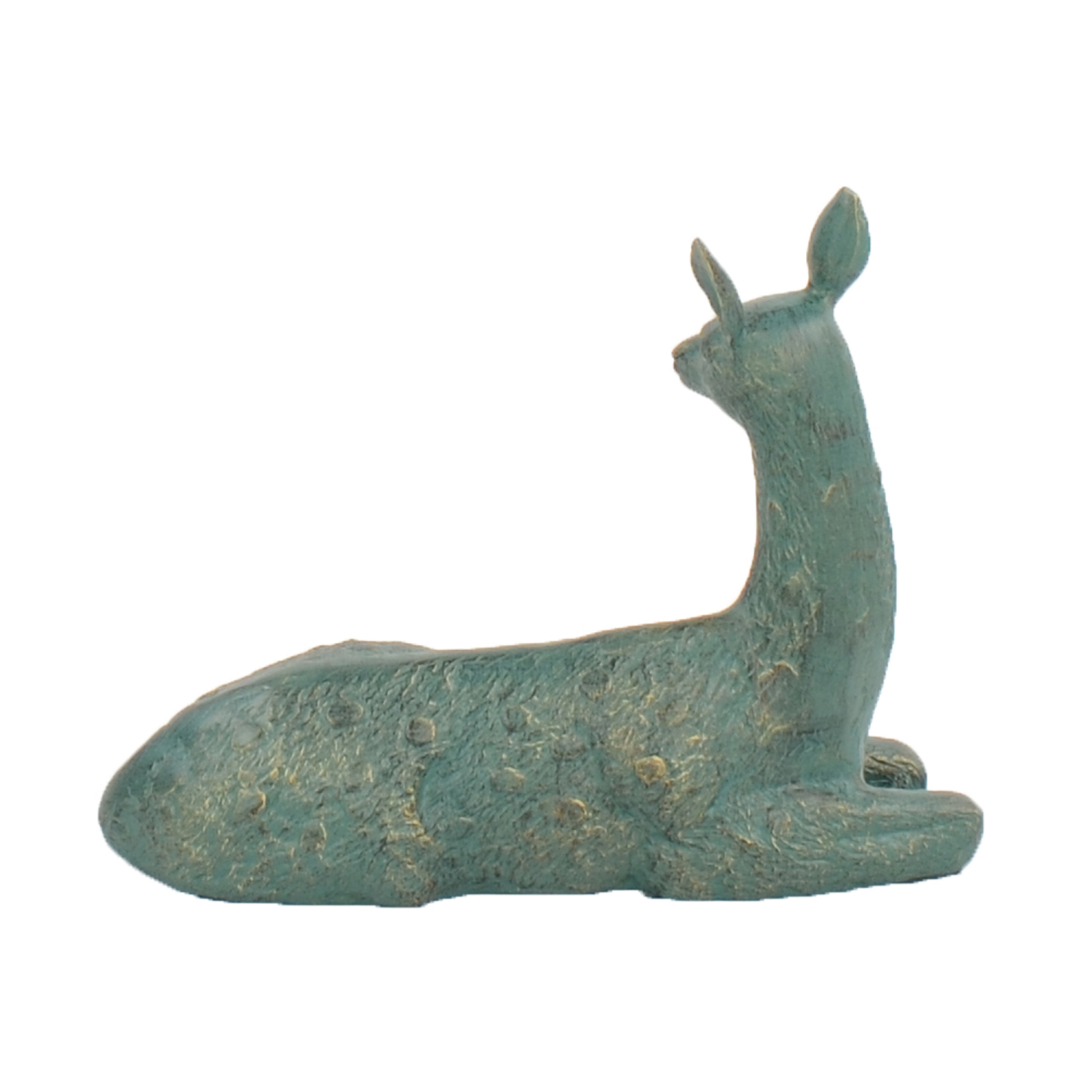 DEER LYING SMALL 30CM ALUMINIUM GOLD VERDIGRIS BACK LEFT