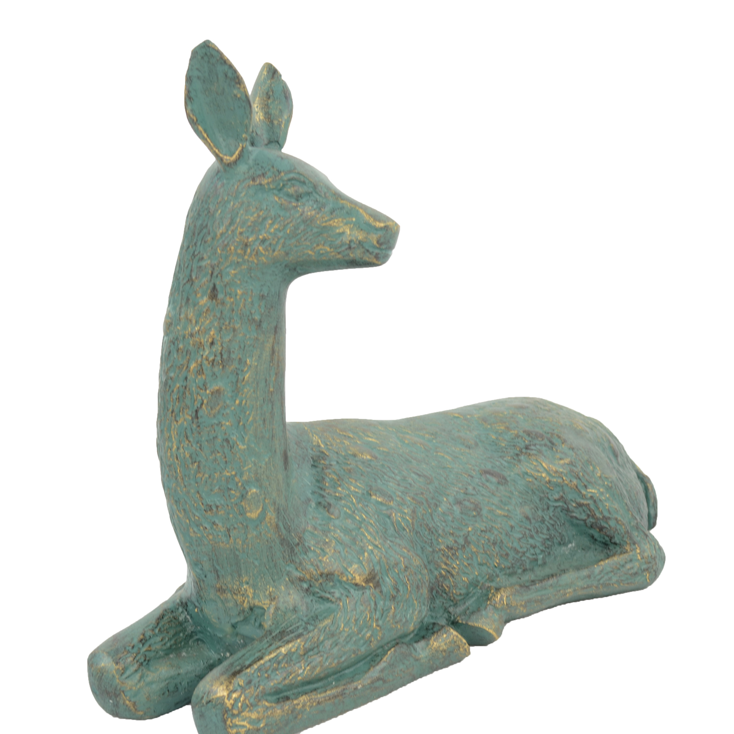 DEER LYING SMALL 30CM ALUMINIUM GOLD VERDIGRIS DETAIL
