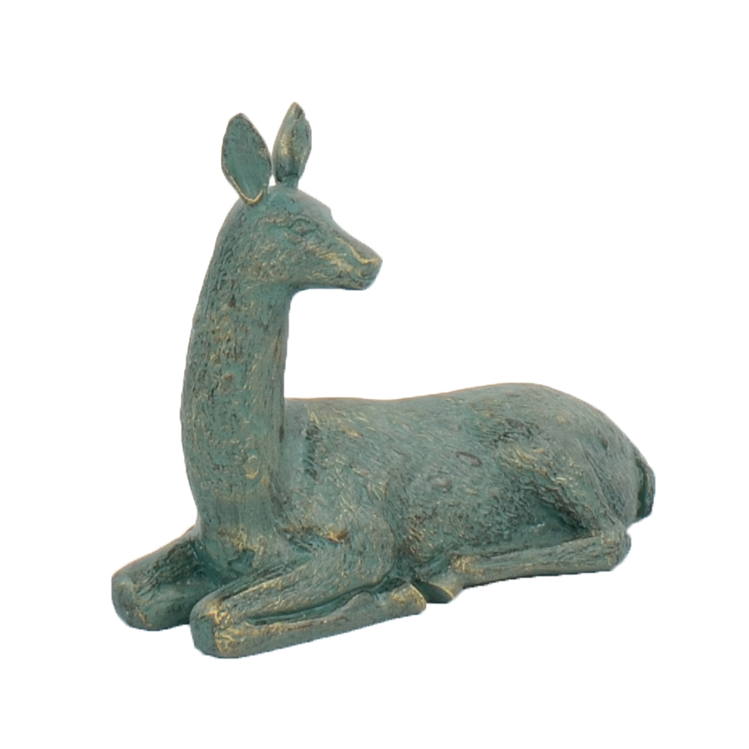 DEER LYING SMALL 30CM ALUMINIUM GOLD VERDIGRIS FRONT RIGHT