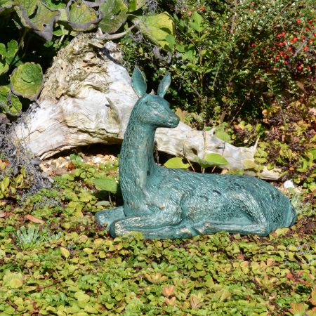 DEER LYING SMALL 30CM ALUMINIUM GOLD VERDIGRIS OUTDOOR