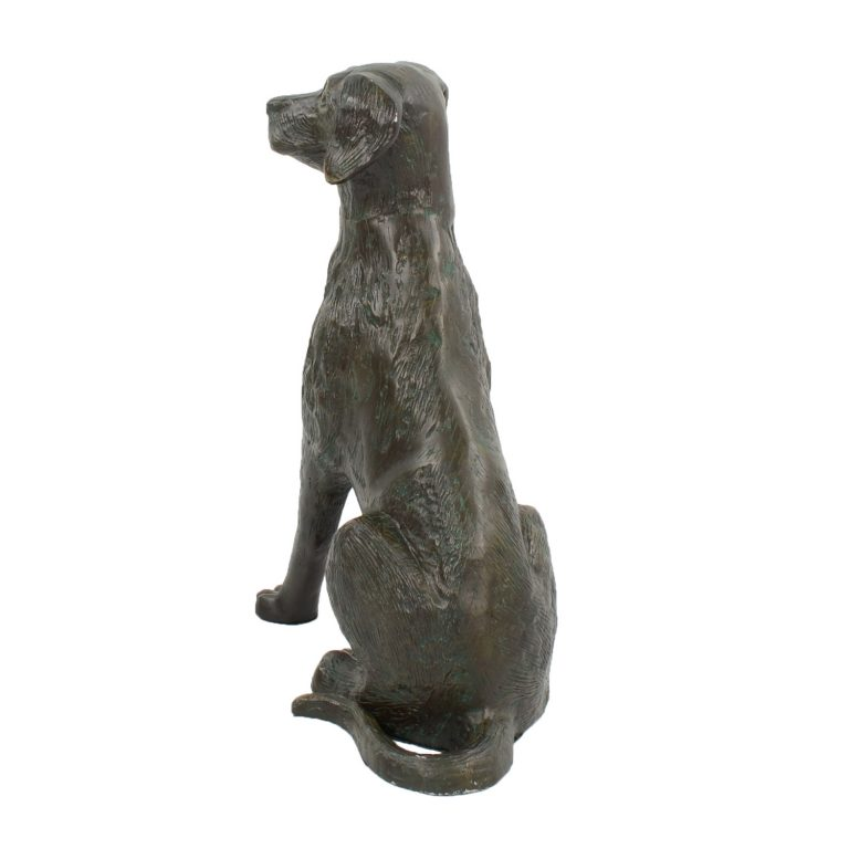DOG 56CM ALUMINIUM DARK VERDIGRIS BACK LEFT