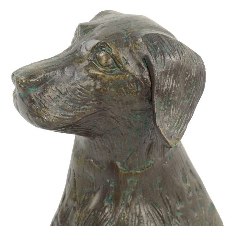 DOG 56CM ALUMINIUM DARK VERDIGRIS DETAIL