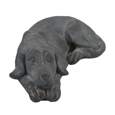 DOG LYING 15CM BLUE IRON EFFECT FRONT