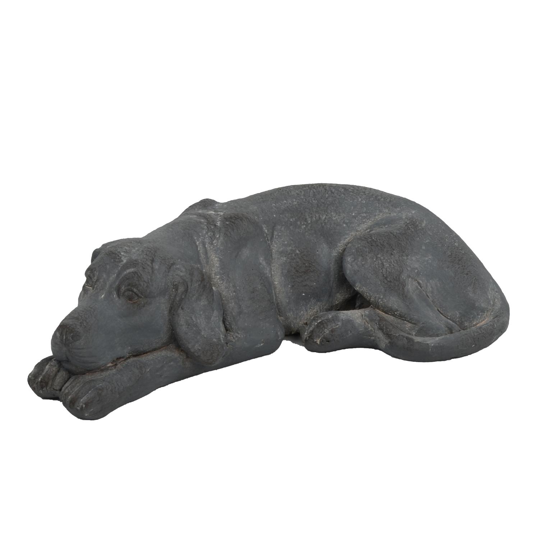 DOG LYING 15CM BLUE IRON EFFECT FRONT LEFT