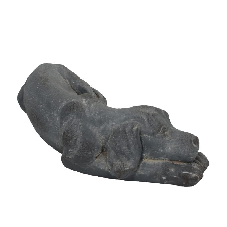 DOG LYING 15CM BLUE IRON EFFECT FRONT RIGHT