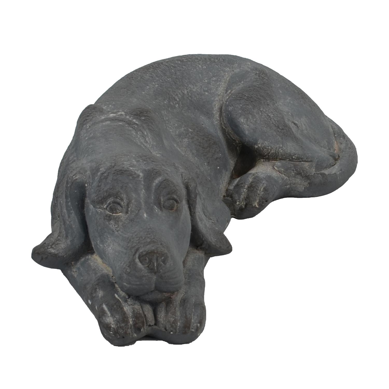 DOG LYING 15CM BLUE IRON EFFECT FRONT