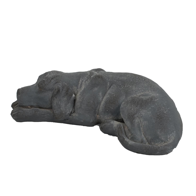 DOG LYING 15CM BLUE IRON EFFECT LEFT
