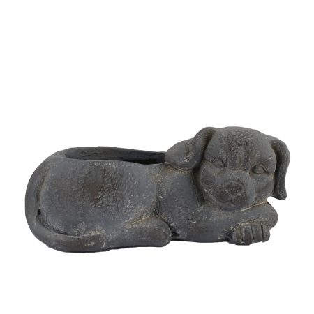 DOG PLANTER 15CM BLUE IRON EFFECT RIGHT