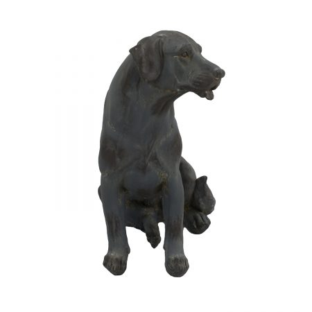 DOG SITTING 43CM BLUE IRON EFFECT FRONT