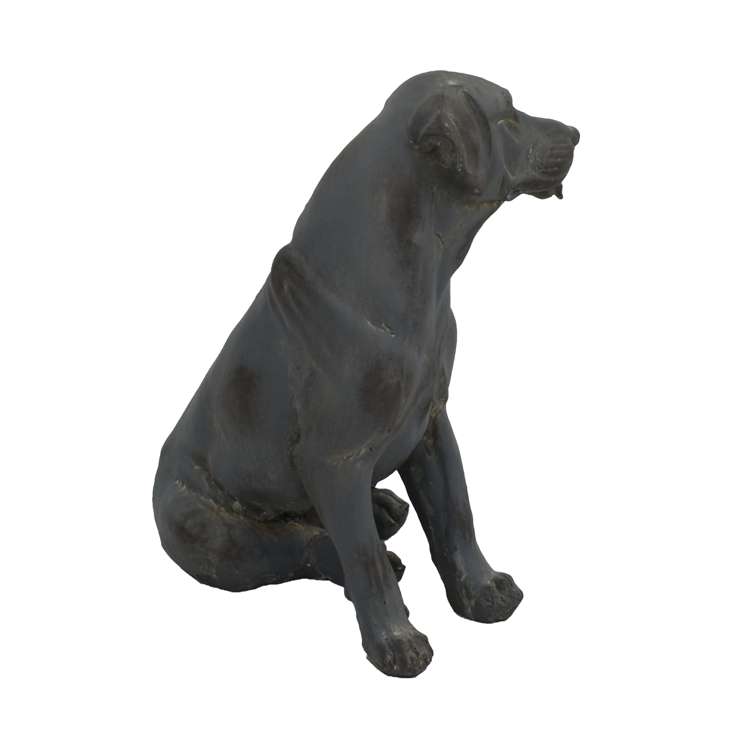 DOG SITTING 43CM BLUE IRON EFFECT FRONT RIGHT