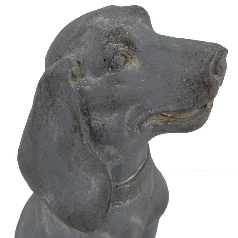 DOG SITTING 71CM BLUE IRON EFFECT DETAIL