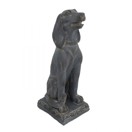 DOG SITTING 71CM BLUE IRON EFFECT FRONT RIGHT