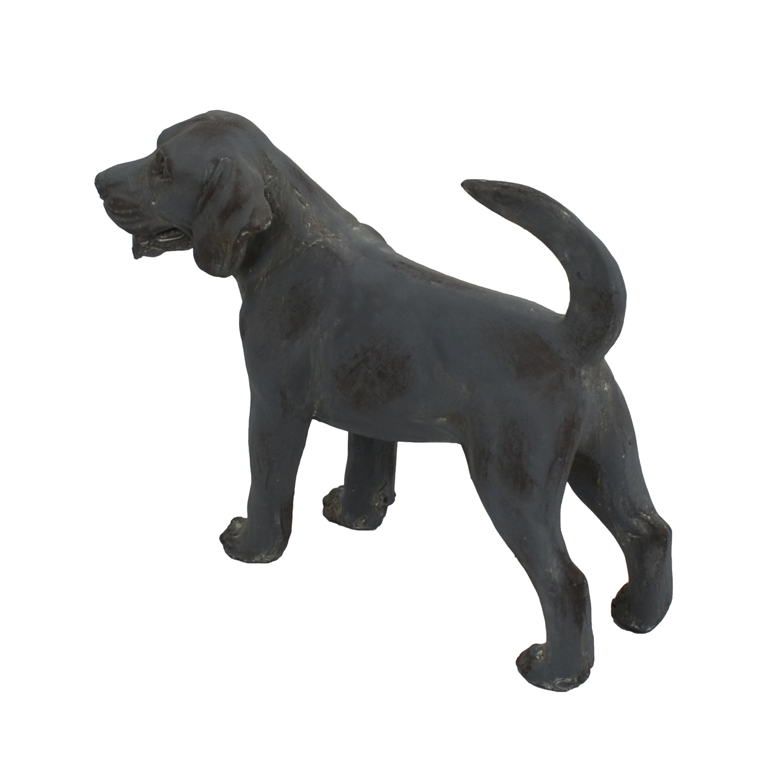 DOG STANDING 34CM BLUE IRON EFFECT BACK LEFT
